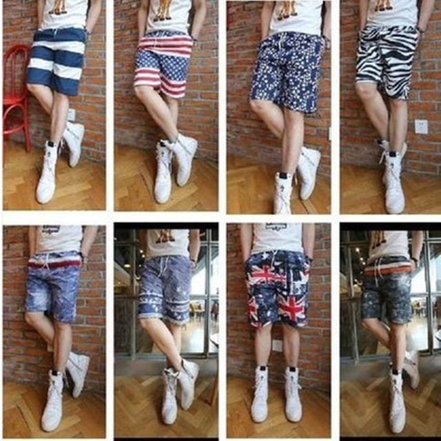 Different parrterns knee length loose mens shorts young guys men ...
