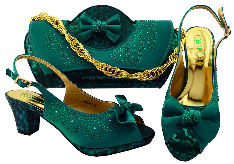 Фото SB8080-5 teal green sandal shoes with clutches evening bag set for african lace fabric dress party with free shipping by DHL