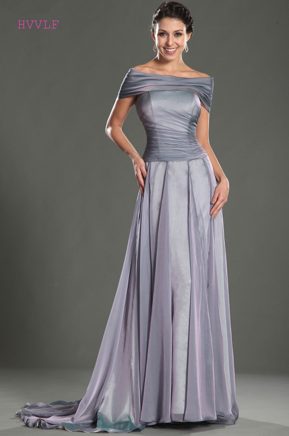 Gray Evening Dresses 2018 A-line Cap Sleeves Chiffon Backless Plus ...