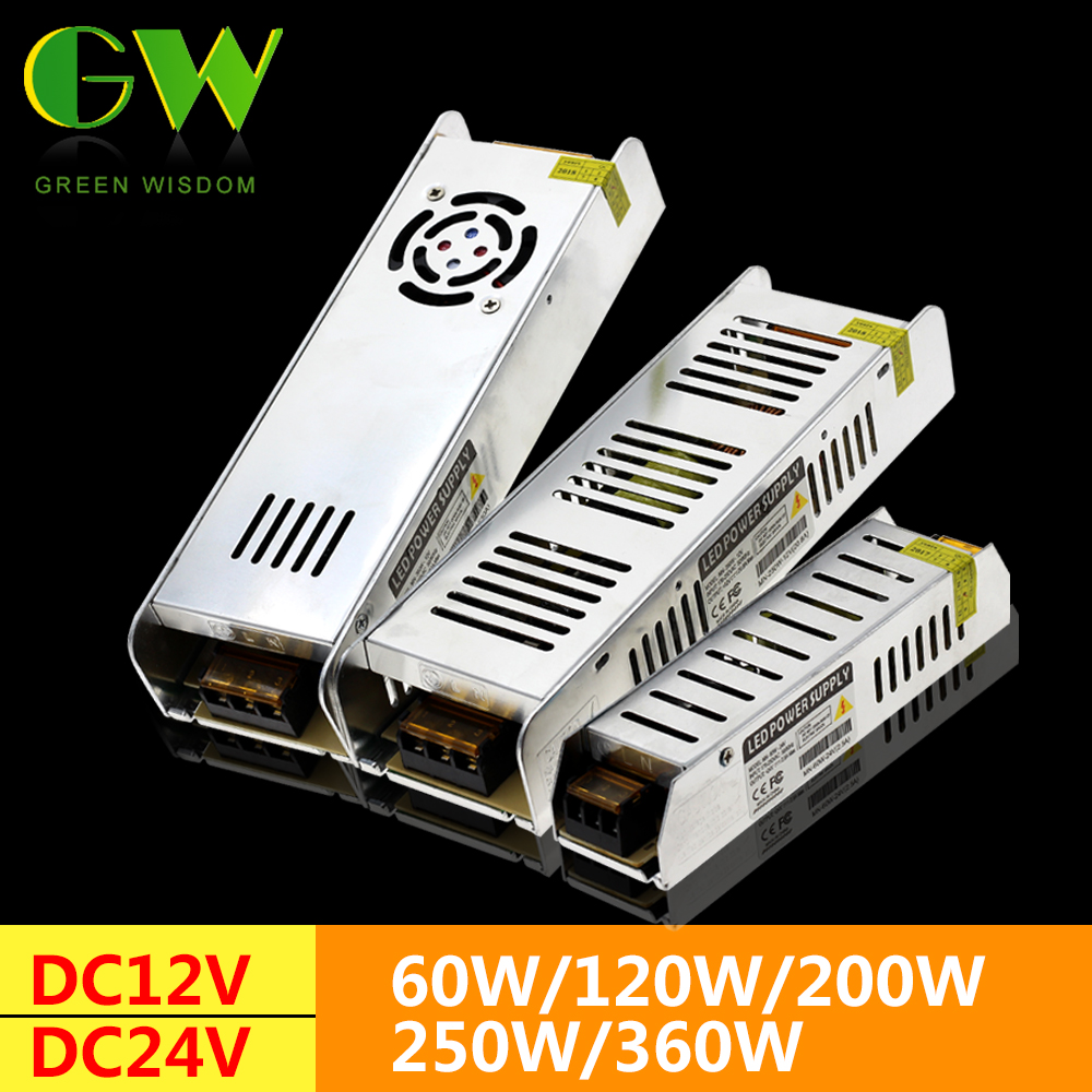 LED Alimentation DC12V 60 w 120 w 200 w 250 w 360 w LED Driver Puissance Adaptateur Transformateurs D'éclairage