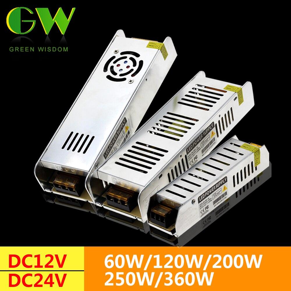 LED de alimentación de DC12V 60 W 120 W 200 W 250 W 360 W LED controlador de adaptador de corriente transformadores para iluminación