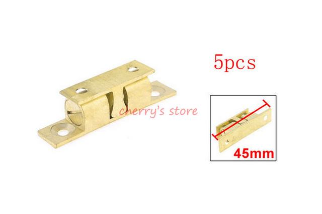 Brass Double Ball Catch Hardware 45mm Long For Cabinet Doors 5 Pcs