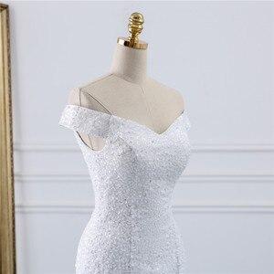 Image 5 - Fansmile ואגלי בציר תחרה שמלות בת ים חתונה שמלה בתוספת גודל 2020 ארוך רכבת מחוייט כלה חתונה טורקיה FSM 431M