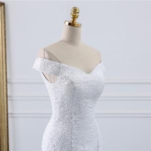 Image 5 - Fansmile Chiếu Trúc Hạt Vintage Phối Ren Váy Nàng Tiên Cá Váy Cưới Plus Kích Thước 2020 Dài Xe Lửa Đặc Chế Cưới Cô Dâu Thổ Nhĩ Kỳ FSM 431M