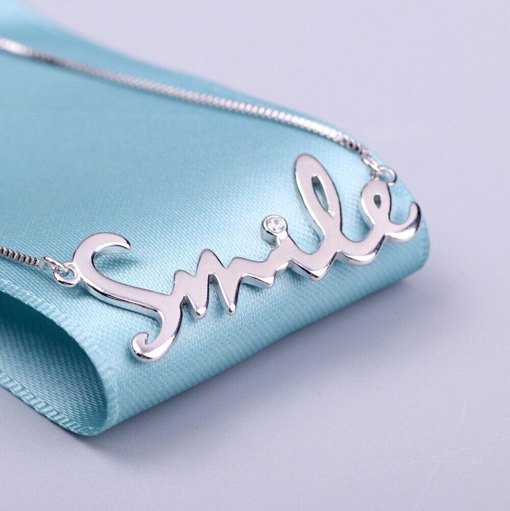 """Изделия стерлингового серебра 100% """"улыбка"""" письма ожерелье прекрасный ожерелье & подвески для женщин бесплатная доставка"""