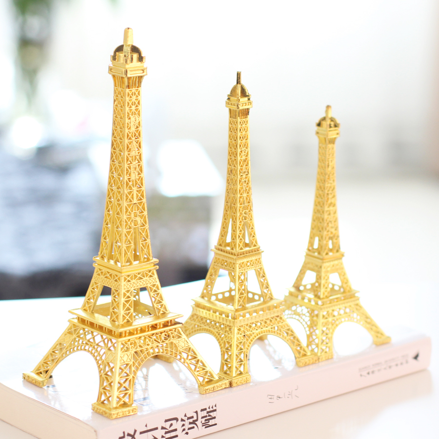 18CM Gold Paris 3D Eiffel Tower model Metal crafts for Wedding ...