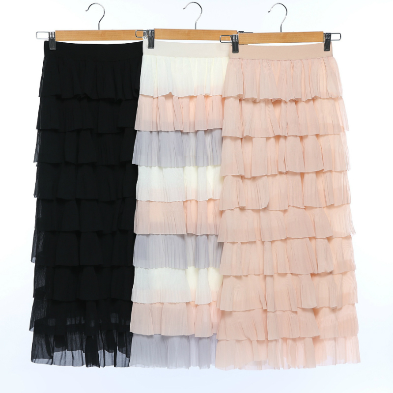 Spring High Waist Multi-color Patchwork Cakee Layered Maxi Long Skirt Women Elegant Long Sweet Pink Long Tiered Skirt Girl