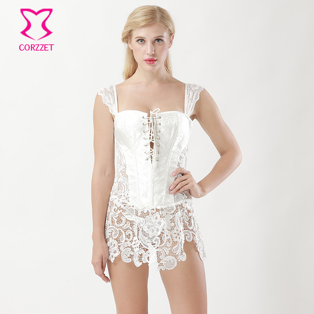Corzzet White Lace Brocade Zipper Bandage Straps Overbust Corsets And  Bustiers Waist Slimming Sexy Gothic Steampunk Cothing 4fdedf2013e4