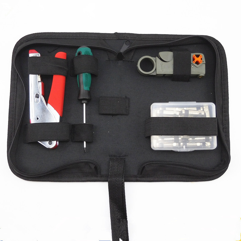 Rg59 / 6 Coaxial Cable F Head Crimping Tool Stripping Set 2017 Top Fashion Rushed Bag Knives Pliers Kit Ferramentas multifunction rg58 rg59 rg6 rg62 coaxial cable stripping pliers