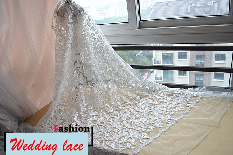 Light ivory/Off white sequins embroidered tulle mesh lace fabric for ...