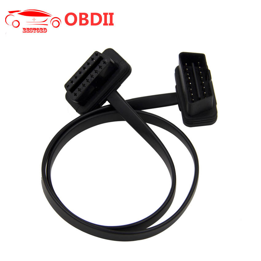 100PCS Lot OBD2 Flat Cable Thin As Noodles OBD2 16PIN Male to Female Flat Extension