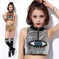 new tank top shirt blusas de frio frida kahlo shirt big eyes printed sexy sequin short t shirt for women pub bar singer&dancer