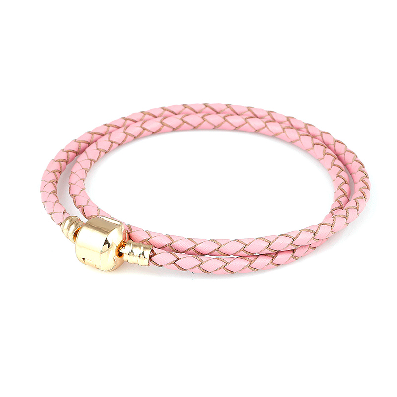 Plated gold Pink Double Loop Leather Charm Bracelet Chain ...
