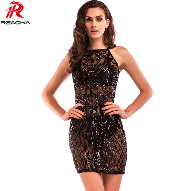 Reaqka Womens Gold Black Sequins Dress 2018 New Sexy Women See Through Sundress Luxury Party Club Wear Mini Sequined Dresses XL