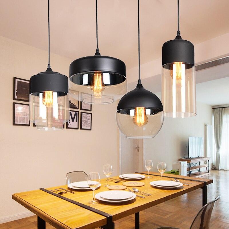 Nordic modern loft Hanging Glass pendant lights LED Retro Edison Pendant Lamp Fixtures Kitchen Dining Room Bar Black White amber