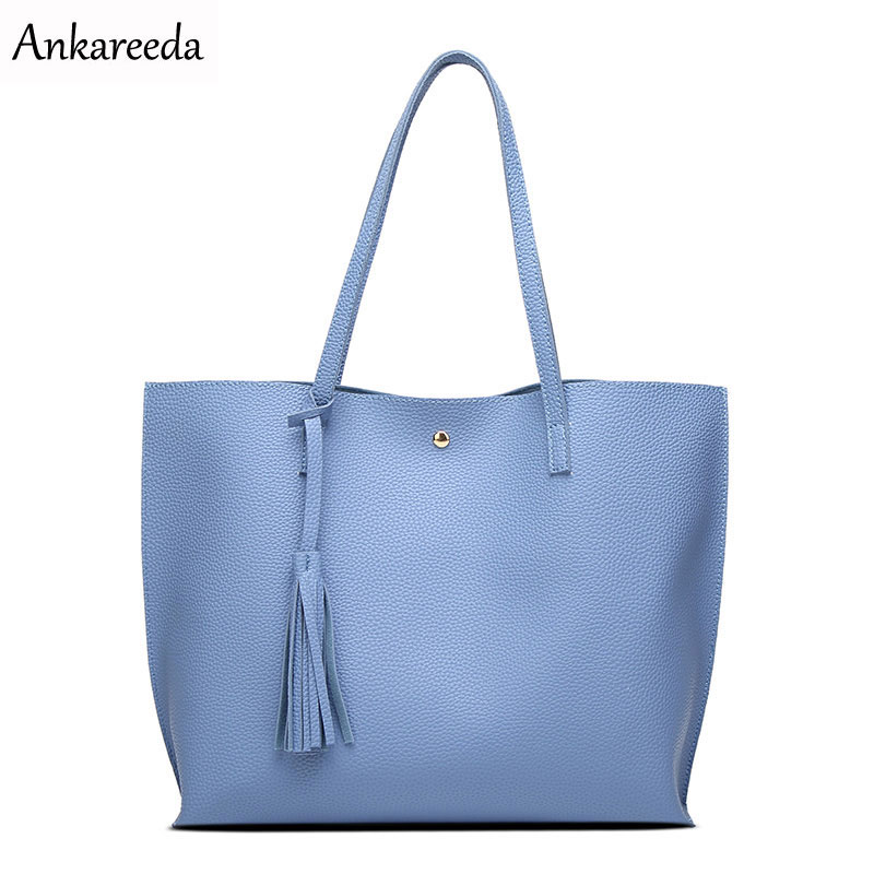 Ankareeda Luxury Brand Women Shoulder Bag Soft Leather TopHandle Bags Ladies Tassel Tote Handbag Hig