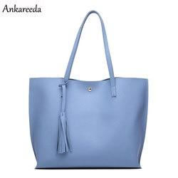 Ankareeda Luxury Brand Women Shoulder Bag Soft Leather TopHandle Bags Ladies Tassel Tote Handbag High Quality Women's Handbags