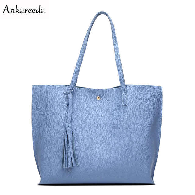 cd215821a38df placeholder Ankareeda Luxury Brand Women Shoulder Bag Soft Leather  TopHandle Bags Ladies Tassel Tote Handbag High Quality