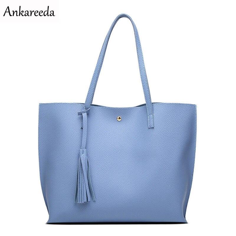 Ankareeda Luxus Marke Frauen Schultertasche Aus Weichem Leder TopHandle Taschen Damen Tassel Tote Handtasche Hohe Qualität frauen Handtaschen