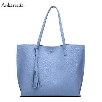 Ankareeda de marca de lujo de las mujeres bolsa de hombro de cuero suave TopHandle, bolsos para mujeres, borla bolso, bolso de las mujeres de alta calidad bolsos de mano