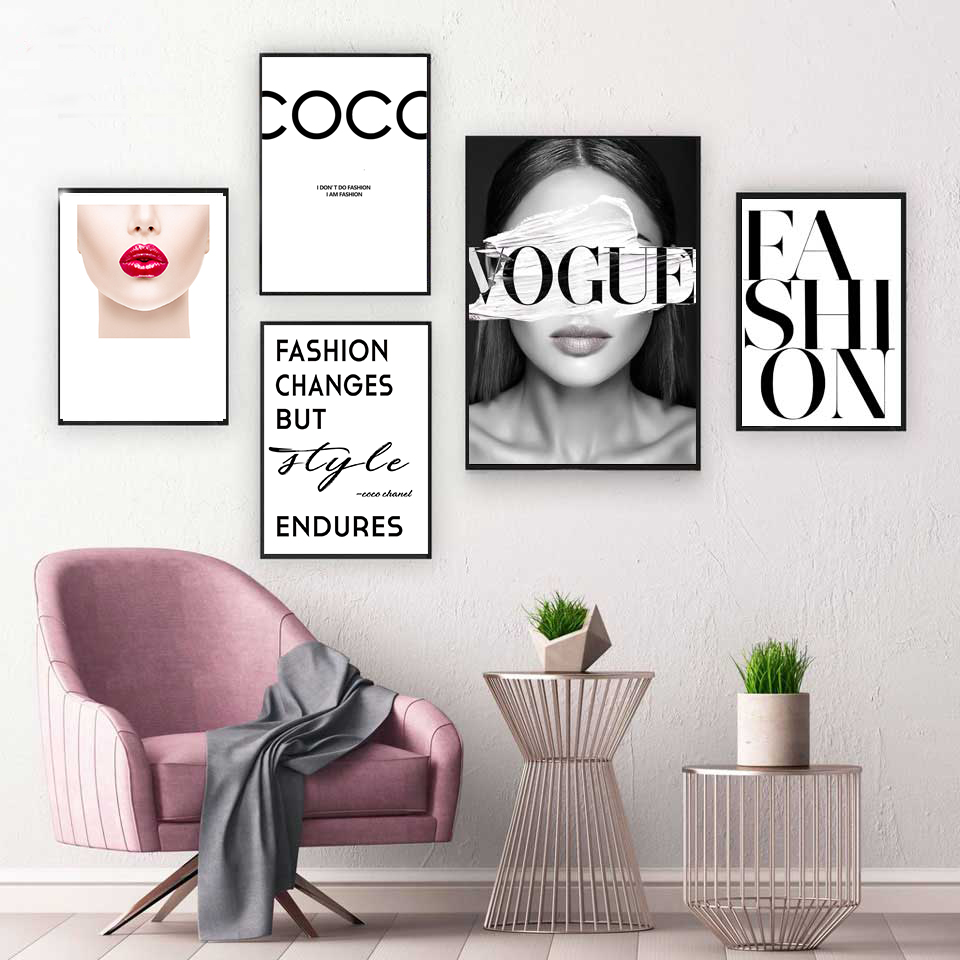 Fashion Vogue COCO Lips Sexy Girl Wall Art Canvas Poster Minimalist Print Painting Wall Picture for Living Room Home Decor