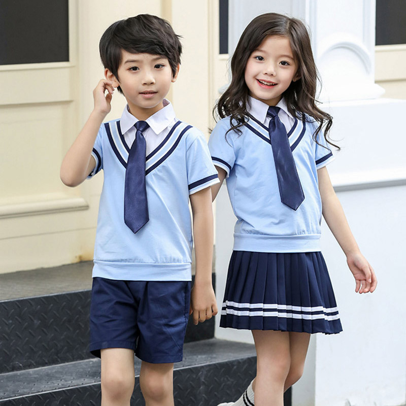 Casual Sports Suit Student uniforms Costume Shirt Shorts Skirt Suit Girls Boys Kindergarten Junior Middle School Uniform