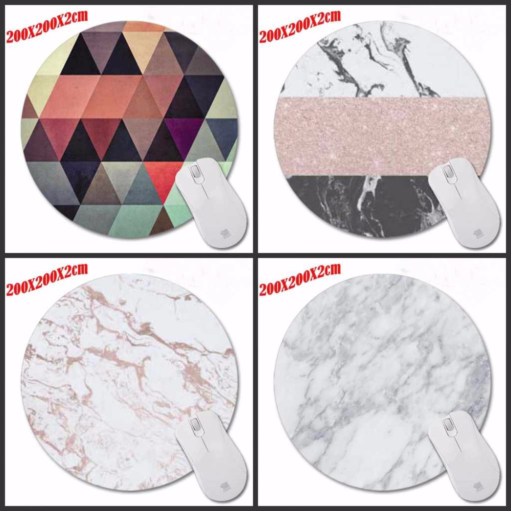 New Design Modern Faux Gold Glitter Marble Unique Desktop Pad Mousepads Computer Animation Round Mouse Mat Round Mice Pad