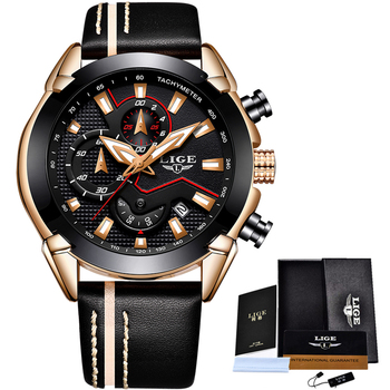 LIGE Men's Fashion Design Leather Date Chronograph Quartz Watches 5