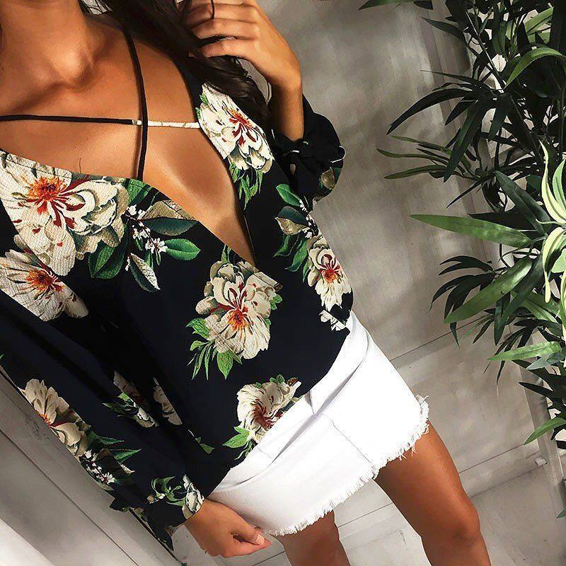 Chiffon Flower Women 2018 Ladies Shirt Fashion Tunic Female Blouse And Tops Clothe Summer Feminine Clothing Floral Black Lace Up