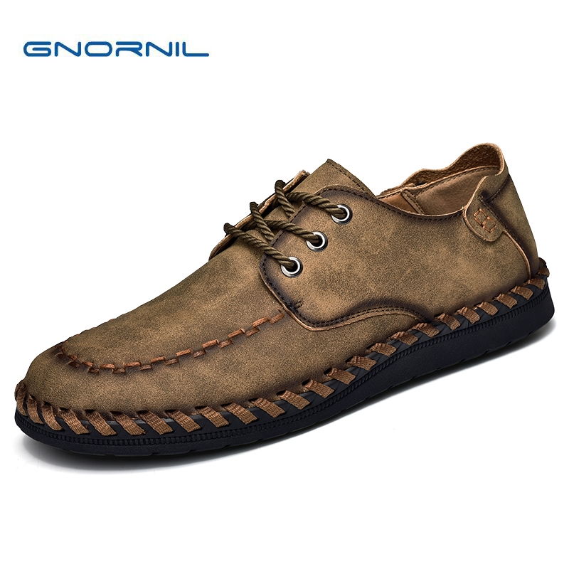 GNORNIL Brand Men Shoes Genuine Leather Business Shoes Fashion High Quality Breathable Handmade Big Size 38-46 Adult Men Flat