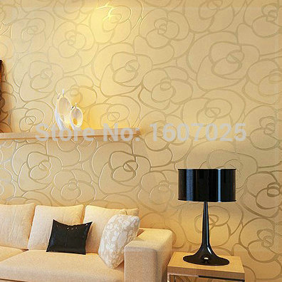 Flock non woven modern linear pattern wallpaper roll for walls wall paper for bedroom living