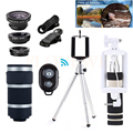 10in1 Phone Camera Lens 8X Zoom Telephoto Lentes Telescope Wide Angle Macro Fisheye Lenses Tripod Holder Monopod For Cell Phone