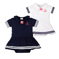Baby Sailor Suit For Baby Girls Navy Style Newborn Sailor Rompers Short Sleeve Jumpsuit Vetement Fille
