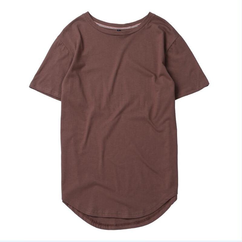 HZIJUE2017 Men's T-shirt summer Solid Color Curved Hem Long Line Camouflage Hip Hop Tshirt Elong Plain Kanye Tee Shirts Men Top 4