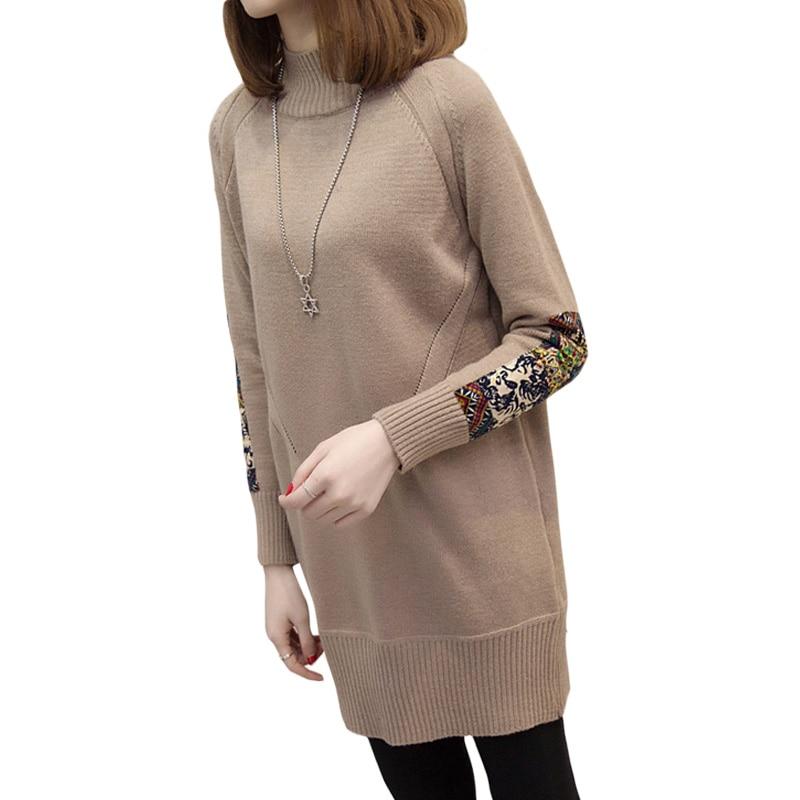 Spring Autumn Winter Fashion Korean Version Women Loose Casual Dress Patch Designs Sleeve Bottoming Knitting Sweater Dress XH620