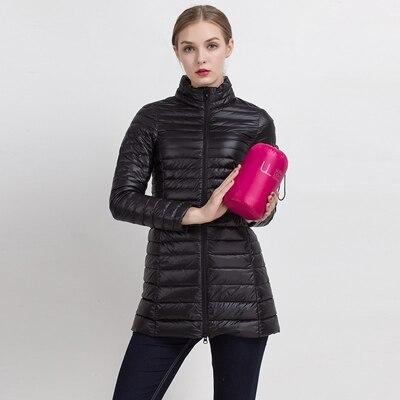 90% белый утиный пух пальто ультра светильник тонкий длинный пуховик портативное Женское зимнее пальто размера плюс Chaquetas Mujer - Цвет: Black