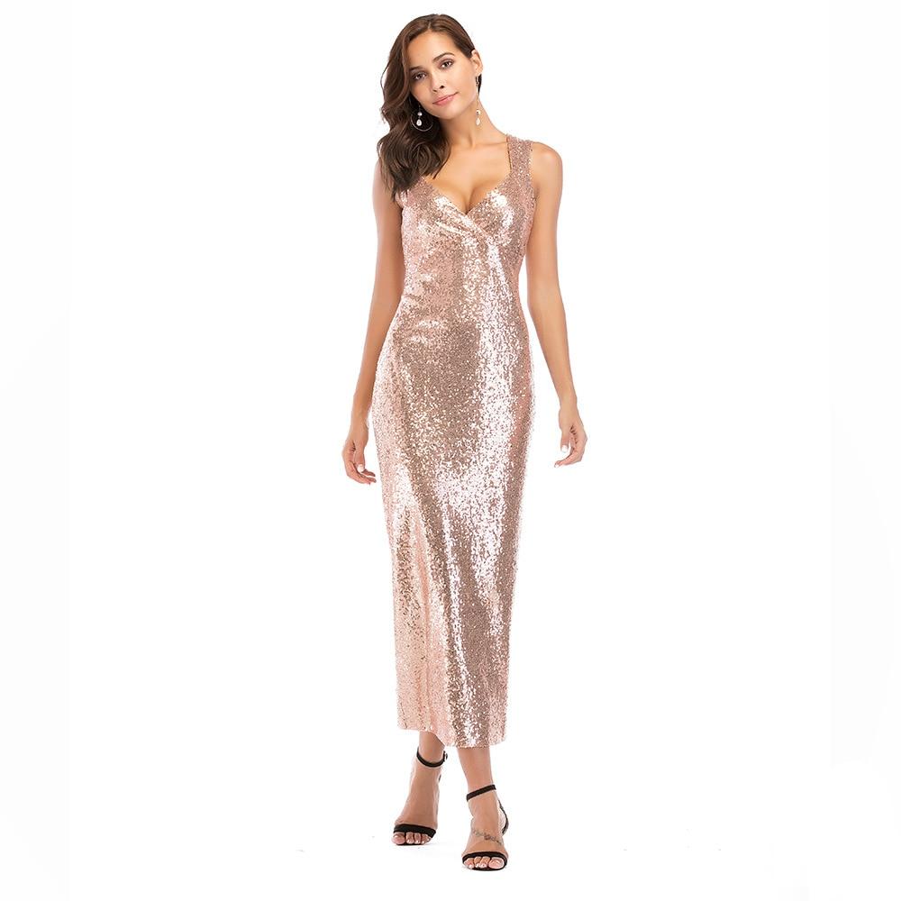 Detail Feedback Questions about Women Party Formal Dress Elegant Rose Gold  V Neck Sleeveless Sequin Maxi Dress Long Vestido Robe Back Splits Dinner  Dress on ... fbd5e4309d2f
