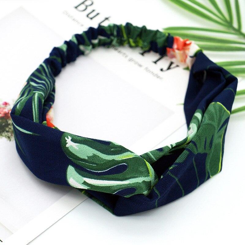 8SEASONS 2018 New Fashion Headbands   Headwear   for Women Summer Chiffon Fabric Green Color Flamingo Leaf Pattern Flexible 1 Piece