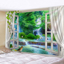The Beautiful  Scenery Outside Window Wall Handing Tapestry Sandy Beach Picnic Towel