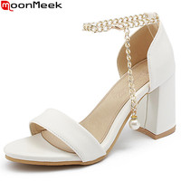MoonMeek White Pink Fashion Summer Ladies Shoes Woman Casual Square Heel Buckle Women High Heels Sandals