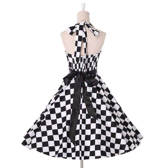 Summer style Womens party Dress 2016  retro 60s Pin up plus size clothing retro Casual swing vestidos 50s Vintage Plaid dresses