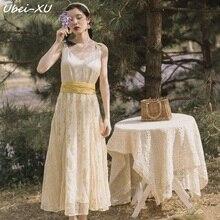 Ubei French vintage dress high-waisted v-neck braces summer fairy seaside holiday long women