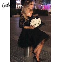 2019 Modest 3/4 Sleeves Tulle V neck Homecoming Dresses Lace Applique Juniors Dresses