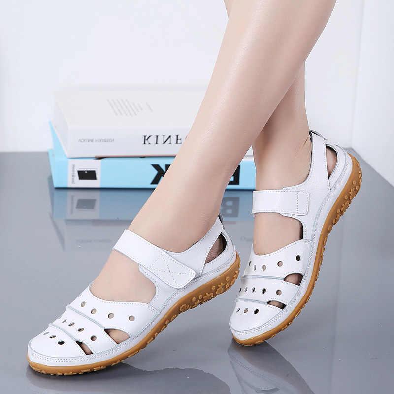 2020 yaz kadın sandalet nefes deri ayakkabı el yapımı takozlar sandalet anne ayakkabısı hakiki deri yaz ayakkabı boyutu 35-42