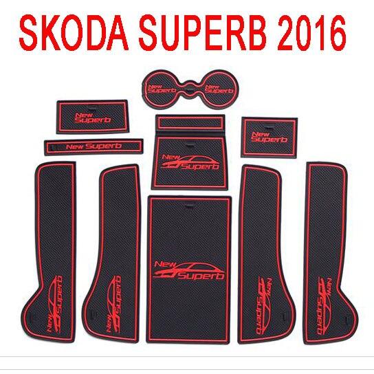 Luhuezu Rubber Non-Slip Interior Door Groove Mats For Skoda Superb Accessories 2009-2017