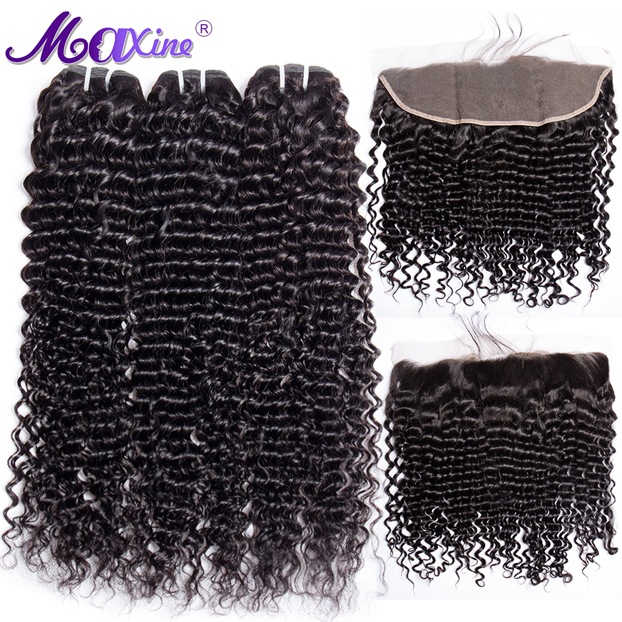 Maxine Deep Weave Bundles With Frontal Peruvian Hair Bundles With 13x4 Pre Plucked Lace Frontal Closure