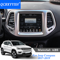 QCBXYYXH ABS Car Styling For Jeep Compass 2017 2019 Air Conditional Panel Sequins Interior decorative frame Cover Internal