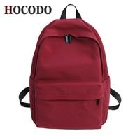 Одноцветный холщовый рюкзак HOCODO для подростков, женская повседневная школьная сумка большой емкости, Простой Школьный Рюкзак Для Путешест...