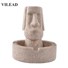 VILEAD 5.5 Easter Day Decoration Stone Ashtray Island Moai Figurines Pukao Statuettes Christmas Decorations for Home