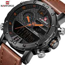 Mens Watches Luxury Brand Men Leather Sports Watches NAVIFORCE Men's Quartz LED Digital Clock Waterproof Military Wrist Watch(China)